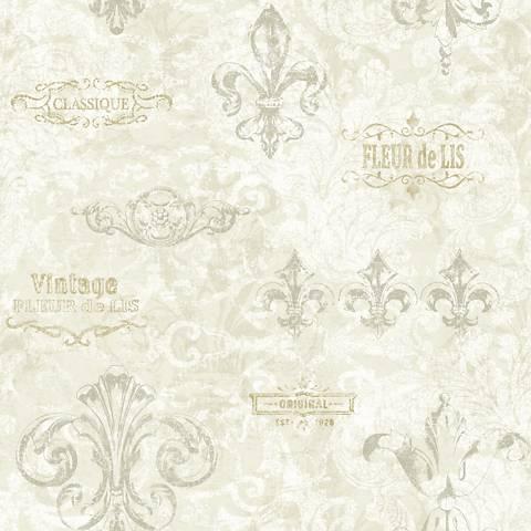 York Sure Strip Ivory Fleur-de-Lis Removable Wallpaper