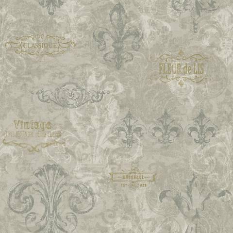 York Sure Strip Gray Fleur-de-Lis Removable Wallpaper