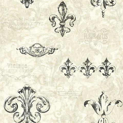 York Sure Strip Taupe Fleur-de-Lis Removable Wallpaper