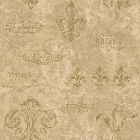 York Sure Strip Gold Fleur-de-Lis Removable Wallpaper
