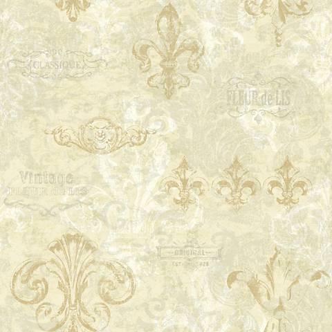 York Sure Strip Silver Fleur-de-Lis Removable Wallpaper
