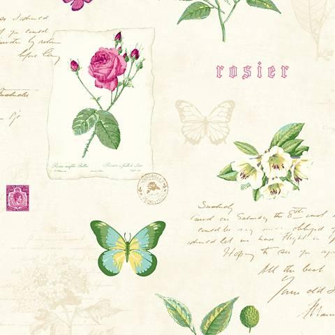 York Sure Strip White Rosier Botanical Removable Wallpaper