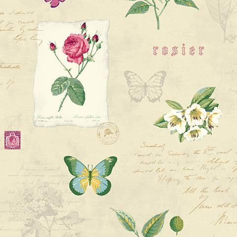 York Sure Strip Cream Rosier Botanical Removable Wallpaper