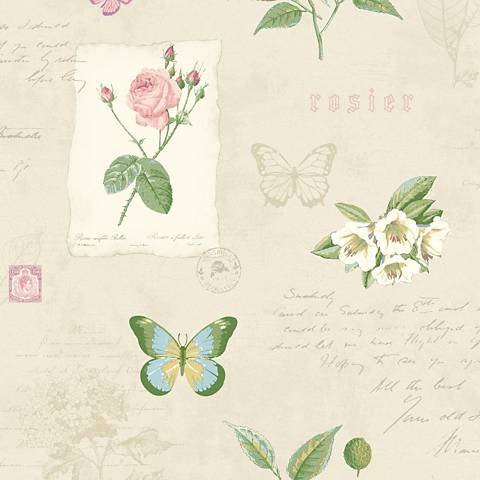 York Sure Strip Taupe Rosier Botanical Removable Wallpaper