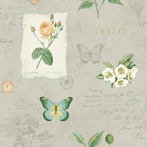 York Sure Strip Gray Rosier Botanical Removable Wallpaper
