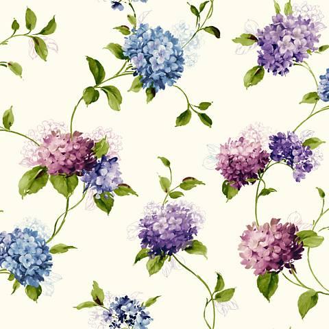 York Sure Strip Blue Hydrangea Trail Removable Wallpaper