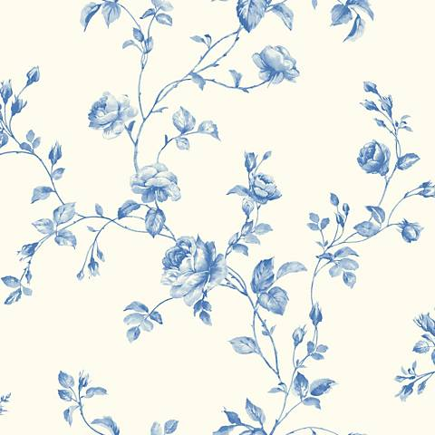 York Sure Strip Blue Rose Toile Removable Wallpaper