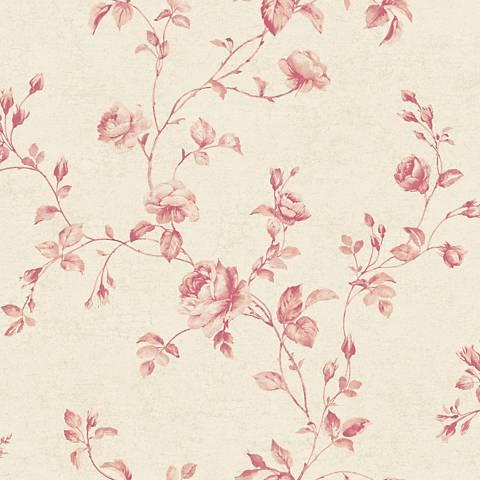 York Sure Strip Pale Coral Rose Toile Removable Wallpaper