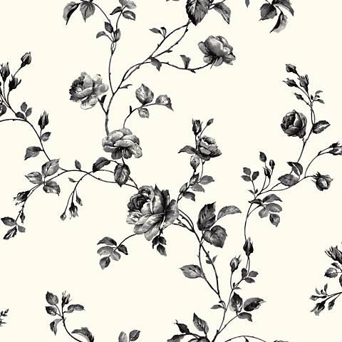 York Sure Strip Black Rose Toile Removable Wallpaper