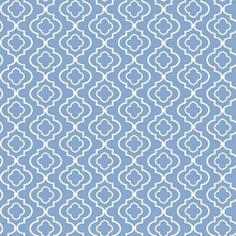 York Sure Strip Blue Small Trellis Removable Wallpaper