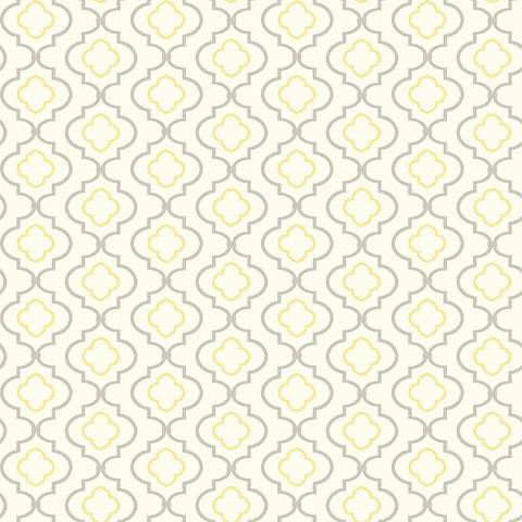 York Sure Strip Yellow Small Trellis Removable Wallpaper