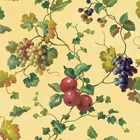 York Sure Strip Cream Fruit and Ivy Removable Wallpaper