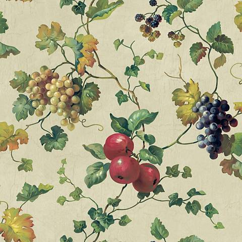 York Sure Strip Beige Fruit and Ivy Removable Wallpaper