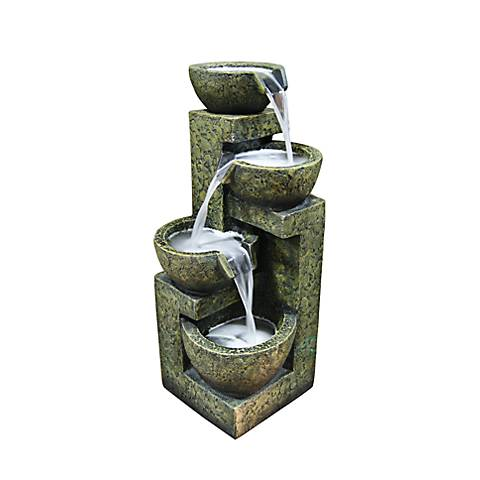 "Stone Bowls 4-Tier Indoor - Outdoor 24"" High Floor Fountain"