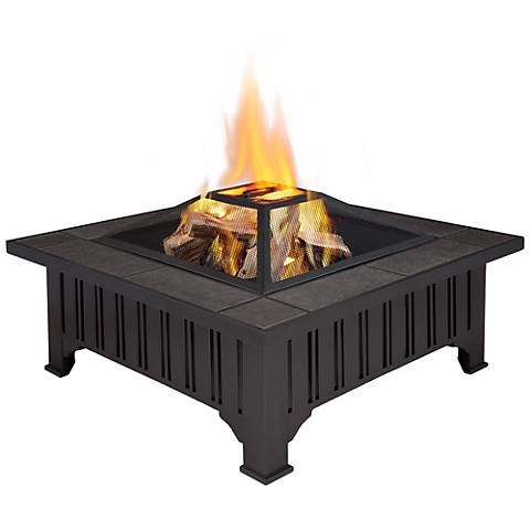 Real Flame Morrison Black Wood-Burning Fire Pit