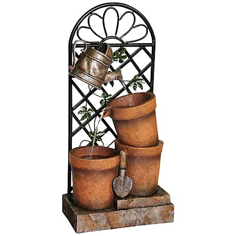 """Chelsea Three Flower Pots and Garden Tools 34"""" High Fountain"""