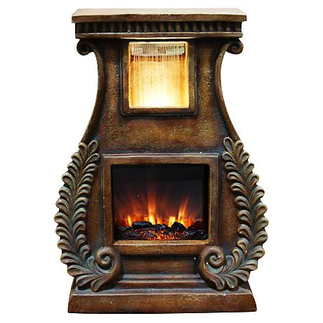 "Rhiannon Fireplace 28"" High Fountain with Fern Detail"