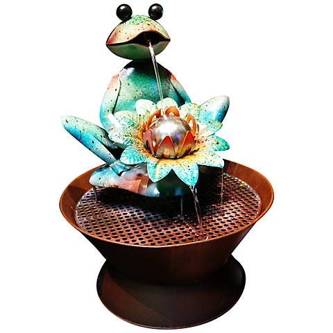 "Harley Frog 20"" High Metal Fountain"