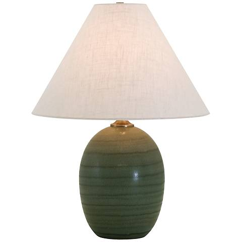 """House of Troy Scatchard Stoneware 22 1/2"""" High Green Lamp"""