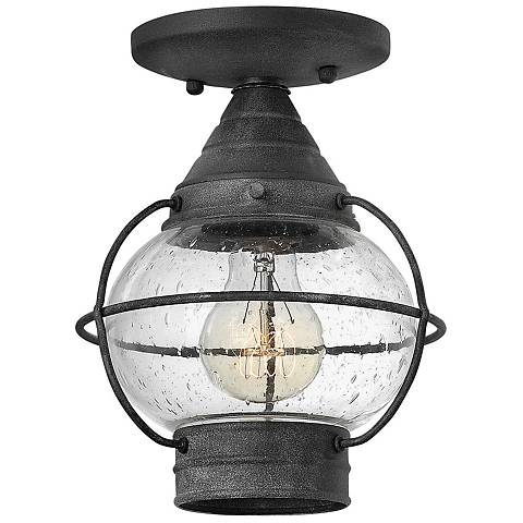 "Hinkley Cape Cod 7"" Wide Aged Zinc Outdoor Ceiling Light"