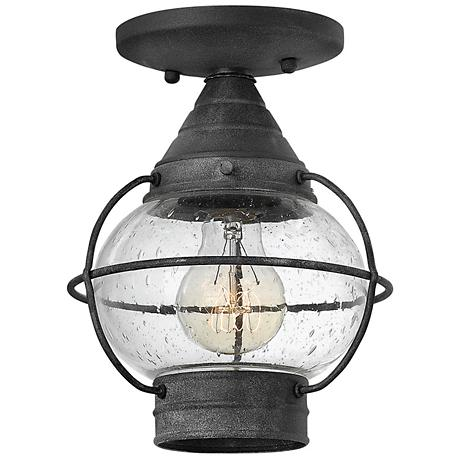 """Hinkley Cape Cod 7"""" Wide Aged Zinc Outdoor Ceiling Light"""