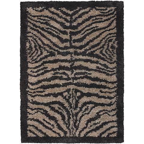 Chandra Amazon AMA5600 Black and Tan Zebra Area Rug