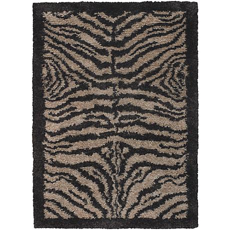 Chandra Amazon AMA5600 Black and Tan Zebra Area Rug