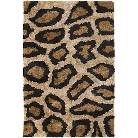 Chandra Amazon AMA5602 Black and Tan Cheetah Area Rug