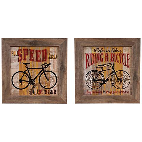 "Life is Like and Full Speed Ahead 16"" Square Set of 2"