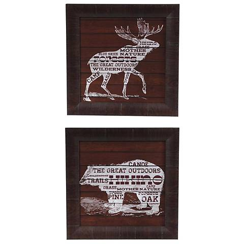"""Bear Text and Moose Text 15"""" Square Wall Art Set of 2"""