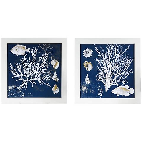 """Coral Blue I And II 2-Piece 14"""" Square Wall Art Set"""