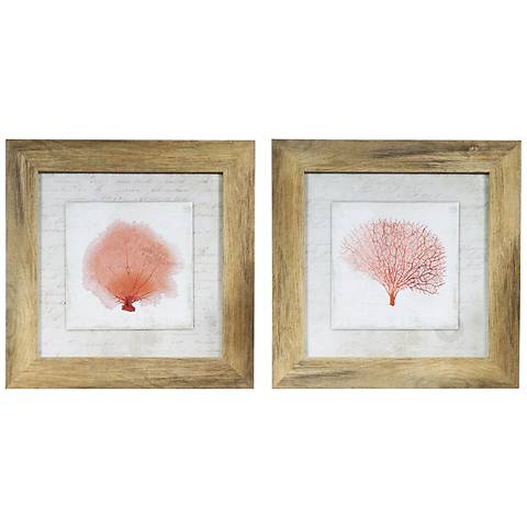 """Coral Linen I And II 2-Piece 15"""" Square Wall Art Set"""