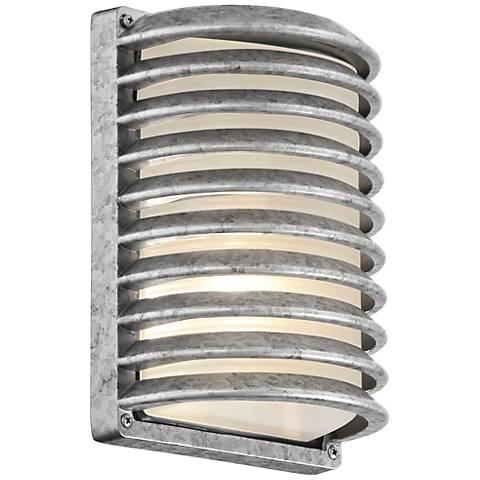 """John Timberland Grid Silver 10"""" High Outdoor Wall Light"""