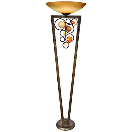 Van Teal Wheels of Steel Golden Ochre Torchiere Floor Lamp