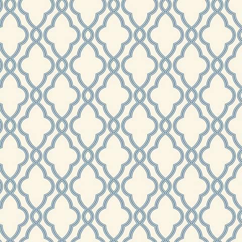 York Sure Strip Delft Blue Waverly Hampton Trellis Wallpaper