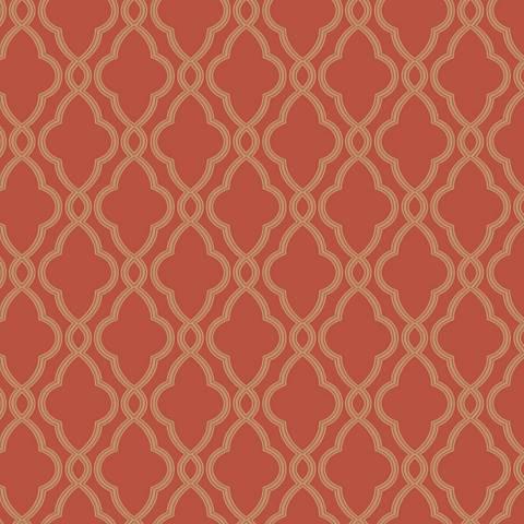 York Sure Strip Orange Waverly Hampton Trellis Wallpaper