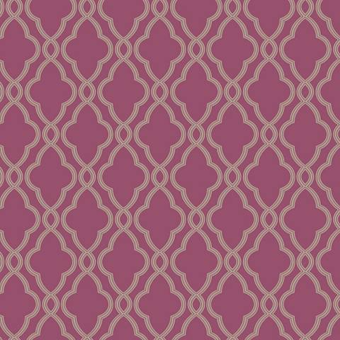 York Sure Strip Grape Waverly Hampton Trellis Wallpaper
