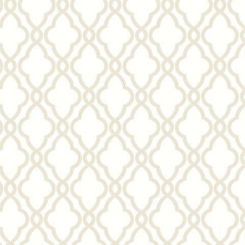 York Sure Strip Cream Waverly Hampton Trellis Wallpaper