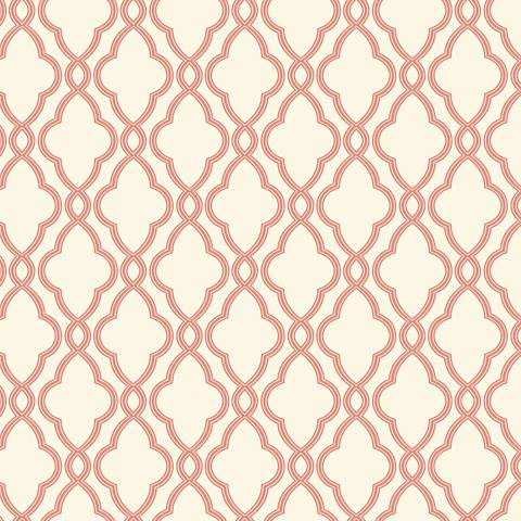 York Sure Strip Coral Waverly Hampton Trellis Wallpaper