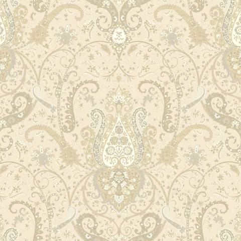 York Sure Strip Cream Waverly Byzance Removable Wallpaper
