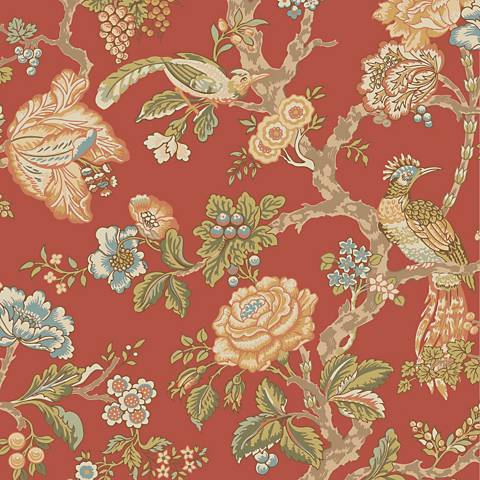 York Sure Strip Orange Waverly Casa Blanca Rose Wallpaper