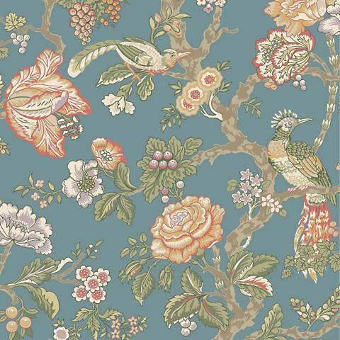 York Sure Strip Teal Waverly Casa Blanca Rose Wallpaper