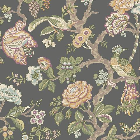 York Sure Strip Gray Waverly Casa Blanca Rose Wallpaper