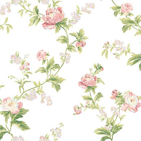 York Sure Strip Pink Waverly Forever Yours Trail Wallpaper