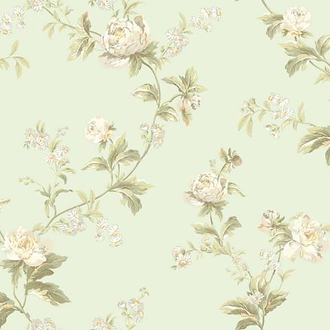 York Sure Strip Mint Waverly Forever Yours Trail Wallpaper