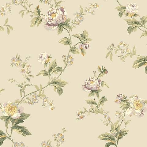 York Sure Strip Gray Waverly Forever Yours Trail Wallpaper