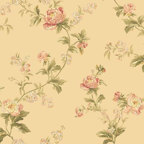York Sure Strip Peach Waverly Forever Yours Trail Wallpaper