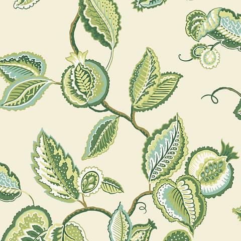 York Sure Strip Kiwi Waverly Fantasy Fleur Wallpaper