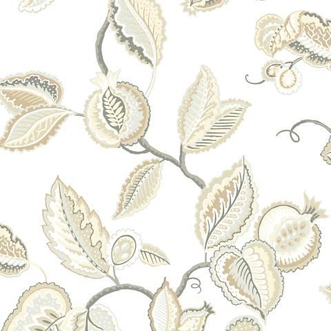York Sure Strip Gray Waverly Fantasy Fleur Wallpaper