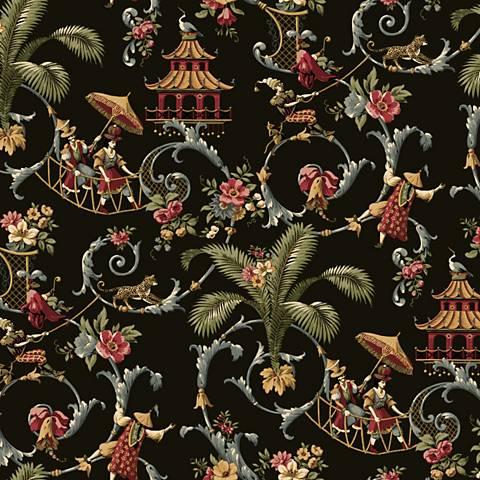 York Sure Strip Black Waverly Mandarin Prose Wallpaper